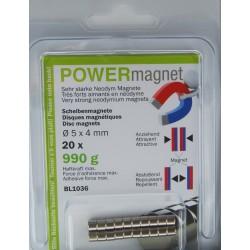 Blister Magnet Ø 5 x 4 mm Inhalt 20 Stück