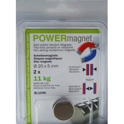 Blister Magnet Ø 20 x 5 mm Inhalt 2 Stück