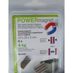 Blister Quadermagnet 20 x 10 x 3 mm Inhalt 6 Stück