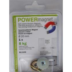 Magnet Ø 20 mm mit Senkung zum Verschrauben mit verschraubbarem Gegenstück